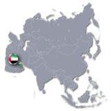 Карта Азии с Объединенными эмиратами Стоковое Изображение RF