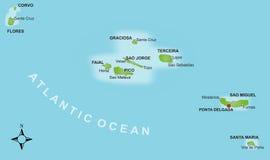 карта Азорских островов Стоковое Фото