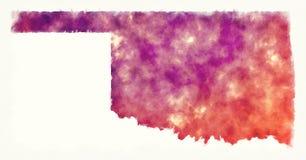 Карта акварели США положения Оклахомы перед белой предпосылкой стоковые фото