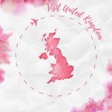 Карта акварели Великобритании в красных цветах Стоковое фото RF
