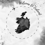 Карта акварели Ирландии в черных цветах Стоковая Фотография RF