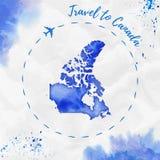 Карта акварели Канады в голубых цветах Стоковая Фотография RF