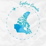 Карта акварели Канады в цветах бирюзы Стоковое Изображение RF