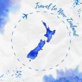 Карта акварели Новой Зеландии в голубых цветах Стоковое Изображение
