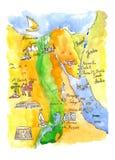 Карта акварели привлекательностей Египта иллюстрация штока