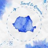 Карта акварели Румынии в голубых цветах Стоковое Изображение