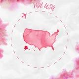 Карта акварели США в красных цветах Стоковые Фотографии RF