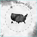 Карта акварели США в черных цветах Стоковые Изображения RF