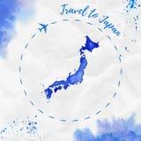 Карта акварели Японии в голубых цветах Стоковые Фото