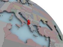 Карта Албании с флагом Стоковые Фото