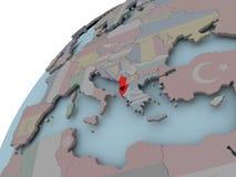 Карта Албании с флагом Стоковая Фотография