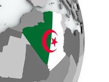 Карта Алжира с флагом Стоковое Изображение