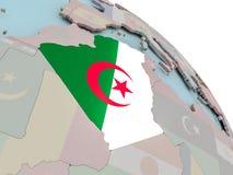 Карта Алжира с флагом Стоковая Фотография