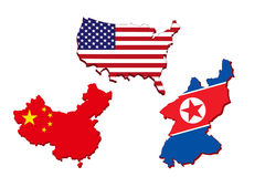Карта Америки, китайская карта и Северная Корея составляют карту Стоковое Фото