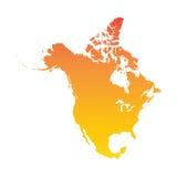 карта америки континентальная северно политическая Красочная оранжевая иллюстрация вектора иллюстрация штока