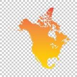 карта америки континентальная северно политическая Красочная оранжевая иллюстрация вектора иллюстрация вектора