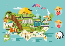 Карта Америки привлекательностей иллюстрация штока