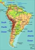 карта америки южная также вектор иллюстрации притяжки corel Стоковое Изображение RF
