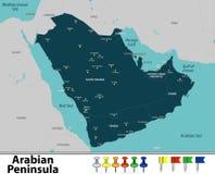Карта Аравийского полуострова Стоковое Фото