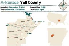 Карта Арканзаса - Yell County Стоковые Изображения RF