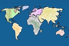 Карта атласа мира с океаном иллюстрация штока