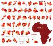 карта Африки Страны в Африке Стоковые Фотографии RF