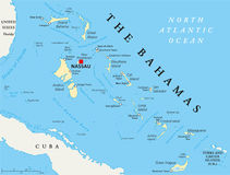 Карта Багамских островов политическая Стоковая Фотография RF