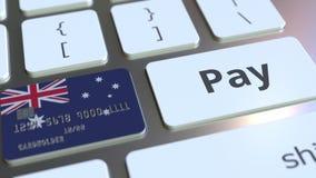 Карта банка отличая флагом Австралии как ключ на клавиатуре компьютера Анимация австралийского онлайн-платежа схематическая бесплатная иллюстрация