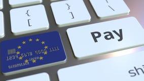 Карта банка отличая флагом Европейского союза как ключ на клавиатуре компьютера Анимация онлайн-платежа ЕС схематическая иллюстрация вектора