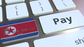 Карта банка отличая флагом Корейской Северной Кореи как ключ на клавиатуре компьютера Анимация онлайн-платежа схематическая иллюстрация вектора