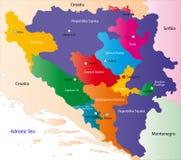 Карта Боснии и Герцеговина Стоковая Фотография RF