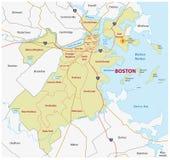 Карта Бостона административная Стоковое Изображение