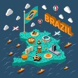 Карта Бразилии равновеликая Стоковые Фотографии RF
