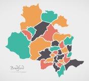 Карта Брэдфорда с городами и современными округлыми формами Стоковое Фото