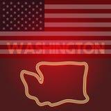 Карта Вашингтона, часть Соединенных Штатов Америки, иллюстрация вектора иллюстрация штока