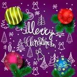Карта вектора веселого рождества с реалистической елью, шариками, украшениями и элементами рождества руки вычерченными на бесплатная иллюстрация