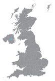 Карта вектора Великобритании с подразделениями Стоковое Изображение RF