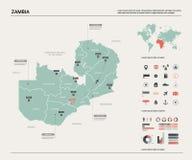Карта вектора Замбии Высокая детальная карта страны с разделением, городами и столицей Лусакой E иллюстрация штока