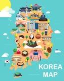 Карта вектора и иллюстрации привлекательностей Кореи бесплатная иллюстрация