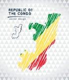 Карта вектора Конго при внутренность флага изолированная на белой предпосылке Иллюстрация мела эскиза нарисованная рукой иллюстрация штока