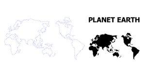 Карта вектора поставленная точки контуром земли с титром иллюстрация вектора