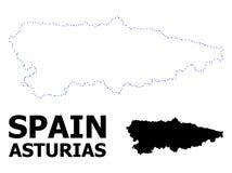Карта вектора поставленная точки контуром провинции Астурии с титром бесплатная иллюстрация