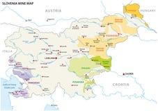 Карта вектора растущих зон вина Словении Стоковое Изображение