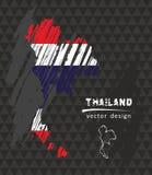 Карта вектора Таиланда национальная с флагом мела эскиза Иллюстрация мела эскиза нарисованная рукой Стоковая Фотография