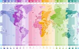 Карта вектора часовых поясов мира стандартная Стоковые Фото