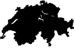 Карта вектора Швейцарии Стоковые Изображения RF