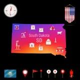 Карта вектора Южной Дакоты, взгляд ночи Значок компаса, элементы навигации карты Флаг вымпела США Значки индустрий иллюстрация штока
