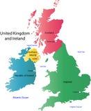 Карта Великобритании и Ирландии Стоковые Изображения