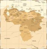 Карта Венесуэлы - винтажная детальная иллюстрация вектора Стоковое Изображение RF