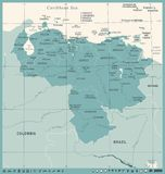 Карта Венесуэлы - винтажная детальная иллюстрация вектора Стоковая Фотография RF